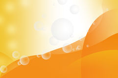 Transparent bubbles on orange background Stock Images