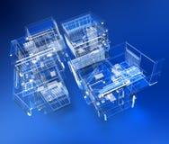 Transparent building. 3D rendering of a transparent building against a blue background Stock Photos