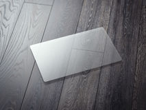 Transparent business card on a wooden floor. 3d rendering Stock Image