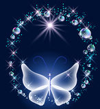 Transparent butterfly and bubbles Royalty Free Stock Images