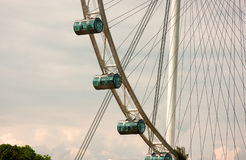 Transparent capsules of the Flyer in Singapore. The Singapore Flyer is a giant Ferris wheel in Singapore,opened in 2008 Stock Images