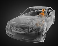 Transparent car concept with driver Royalty Free Stock Photography