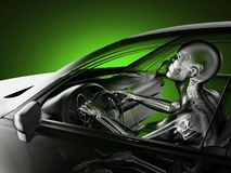 Transparent car concept with driver Royalty Free Stock Image