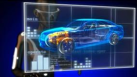 Transparent car concept on futuristic hologram. Transparent car concept on futuristic  hologram stock video