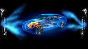 Transparent car concept on hologram. 3D rendered. Footage stock footage