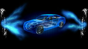 Transparent car concept on hologram. 3D rendered stock video footage