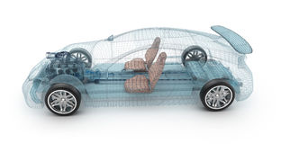 Transparent car design, wire model.3D illustration. Stock Photos