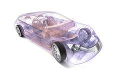 Transparent car design, wire model. royalty free illustration