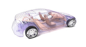 Transparent car design, wire model. 3D illustration royalty free illustration
