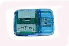Transparent card reader. Trans parent universal usb card reader,  in white with its PCB visible Stock Images
