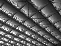 Transparent ceiling - modern architecture interior. Black and white tone Stock Image