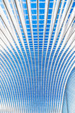 Transparent ceiling in modern railway station with blue sky Royalty Free Stock Photography