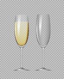 Champagne glasses. Transparent champagne glasses. Empty glass and glass with champagne Stock Photography