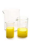 Transparent chemical glassware Stock Photo
