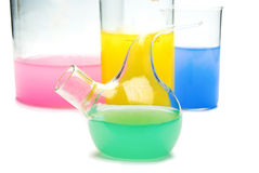 Transparent chemical glassware Royalty Free Stock Photos