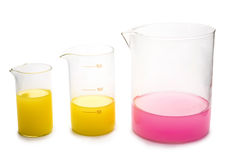 Transparent chemical glassware Stock Images