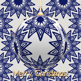 Transparent Christmas ball on background with blue stars. Christmas and New Year background. Royalty Free Stock Photos