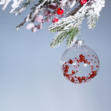 Transparent Christmas ball on a gray background. New Year Royalty Free Stock Photos