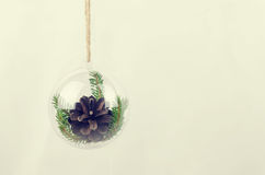 Transparent Christmas ball with a pine cone inside Stock Image