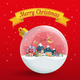 Transparent Christmas ball on red background. Winter landscape. Nature, buildings, village and city in a flat style. Yellow festive ribbon. Merry Christmas and Royalty Free Stock Photo