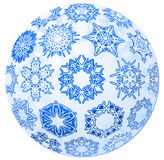 Transparent christmas-ball with snowflakes Stock Image