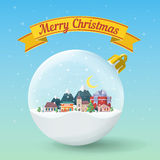 Transparent Christmas ball. Winter landscape. Nature, buildings, village and city in a flat style. Yellow festive ribbon. Merry Christmas and Happy New Year Stock Photography