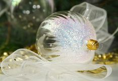 Transparent christmas ornaments Stock Photo