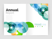 Transparent circle composition on business annual report flyer Stock Image