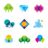 Transparent city logo landscape beauty mosaic geometric icon set Royalty Free Stock Image