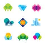 Transparent city logo landscape beauty mosaic geometric icon set Royalty Free Stock Image