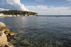 Transparent and clean water of the historical city of Piran, adriatic sea, Slovenia.  stock images