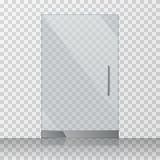 Transparent clear glass door isolated on checkered background vector illustration vector illustration