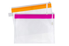 Transparent clear Plastic PVC ideally used as cosmetic bag, stat Stock Photography