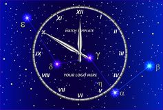 Transparent clock template against the background of the constellation of Cassiopeia. Stock Photography