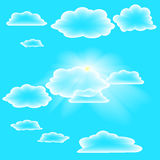 Transparent clouds on summer sky. Transparent clouds and sunlight on summer sky Royalty Free Stock Images