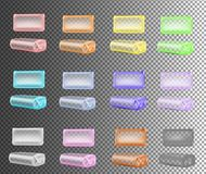 Transparent color packaging for soap, coffee, spices, sweets, co stock illustration
