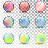 Transparent colored balls with overflow. Royalty Free Stock Images