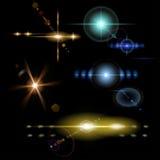 Transparent colored lens flares. Set of transparent colored lens flares of various shapes Stock Photography