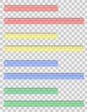 Transparent colored ruler vector illustration Stock Photos