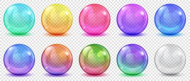 Transparent colored spheres with shadows. Set of translucent colored spheres with glares and shadows on transparent background. Transparency only in vector stock illustration