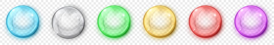 Transparent colored spheres with shadows. Set of translucent colored spheres with glares and shadows on transparent background. Transparency only in vector vector illustration