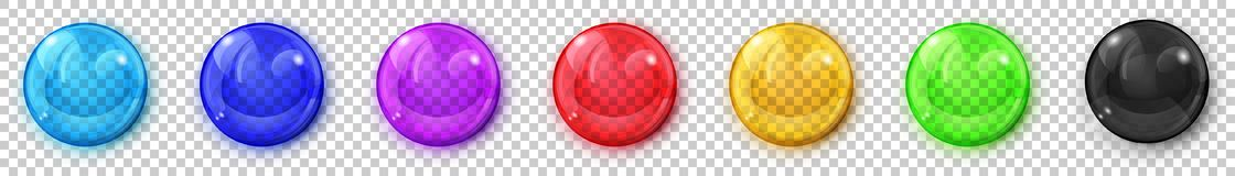 Transparent colored spheres with shadows. Set of translucent colored spheres with glares and shadows on transparent background. Transparency only in vector royalty free illustration