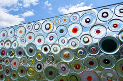 Transparent Colorful glass wall outdoors Stock Photo
