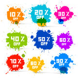 Transparent Colorful Vector Discount Sale Splashes Set Royalty Free Stock Images