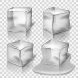 Transparent colorless ice cubes vector set. Block solid cold illustration and cube crystal freeze Royalty Free Stock Image
