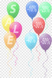 Transparent colors balloons with the inscription sale vector ill Stock Photos