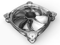 Transparent computer fan. 3D render illustration of a transparent computer fan. The object is isolated on a white background with soft shadows Royalty Free Stock Image