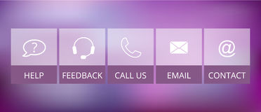 Transparent contact buttons, suitable for flat design Stock Photo
