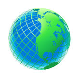 Transparent couleur verte et bleue du globe Photographie stock