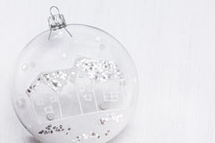 Transparent Cristmas bauble. Glass and glitter Christmas ball with glittery home ornament Stock Image